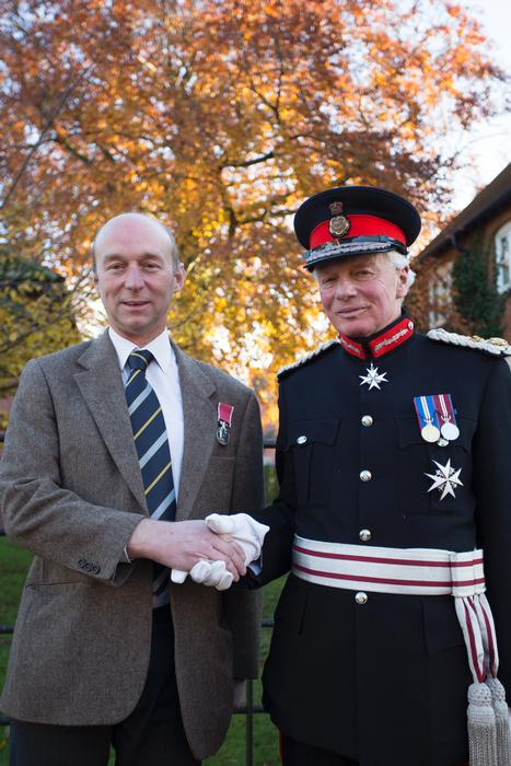 131126-Mark-Hall-receives-the-BEM-from-Lord-Lieutenant-of110420